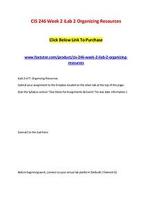 CIS 246 Week 2 iLab 2 Organizing Resources (2)