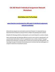 CIS 292 Week 4 Individual Assignment Network Worksheet