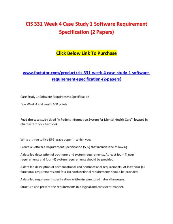 CIS Week Case Study Software Requirement Specification - User requirement specification