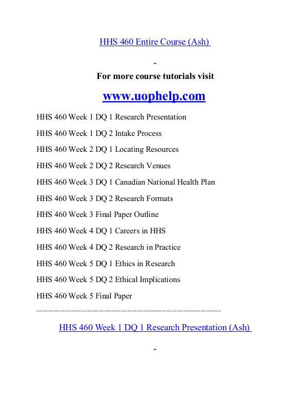 HHS 460 help Minds Online/uophelp.com HHS 460 help Minds Online/uophelp.com