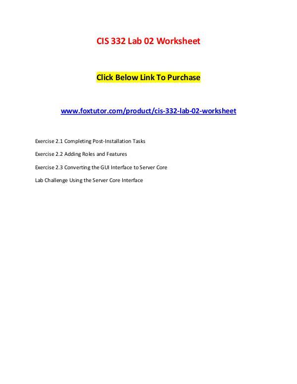 CIS 332 Lab 02 Worksheet CIS 332 Lab 02 Worksheet
