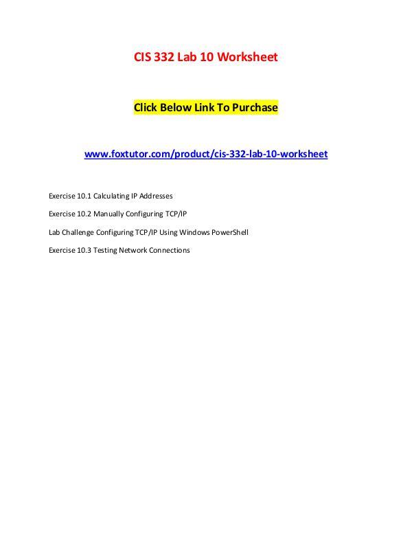 CIS 332 Lab 10 Worksheet CIS 332 Lab 10 Worksheet