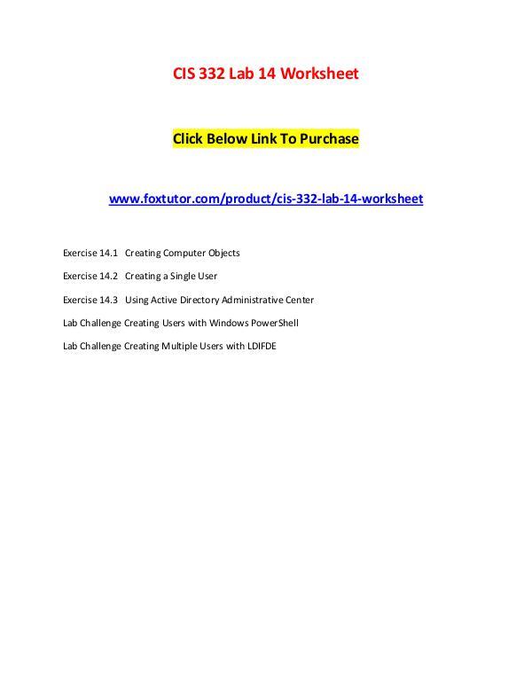 CIS 332 Lab 14 Worksheet CIS 332 Lab 14 Worksheet