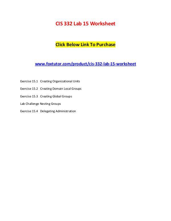 CIS 332 Lab 15 Worksheet CIS 332 Lab 15 Worksheet