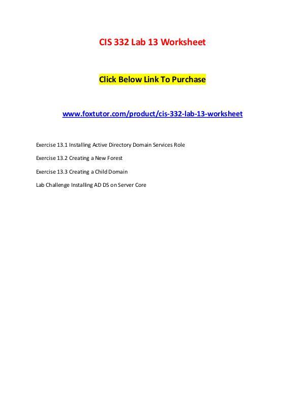 CIS 332 Lab 13 Worksheet CIS 332 Lab 13 Worksheet