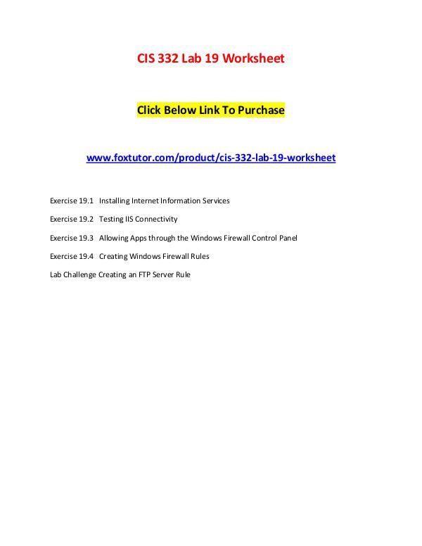 CIS 332 Lab 19 Worksheet CIS 332 Lab 19 Worksheet