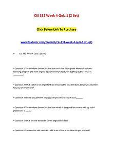 CIS 332 Week 4 Quiz 1 (2 Set)