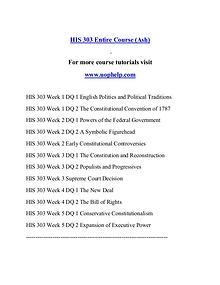 HIS 303 help Minds Online/uophelp.com