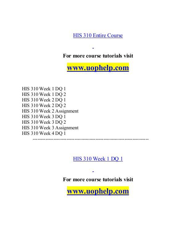 HIS 310 help Minds Online/uophelp.com HIS 310 help Minds Online/uophelp.com