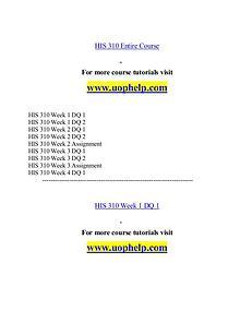 HIS 310 help Minds Online/uophelp.com