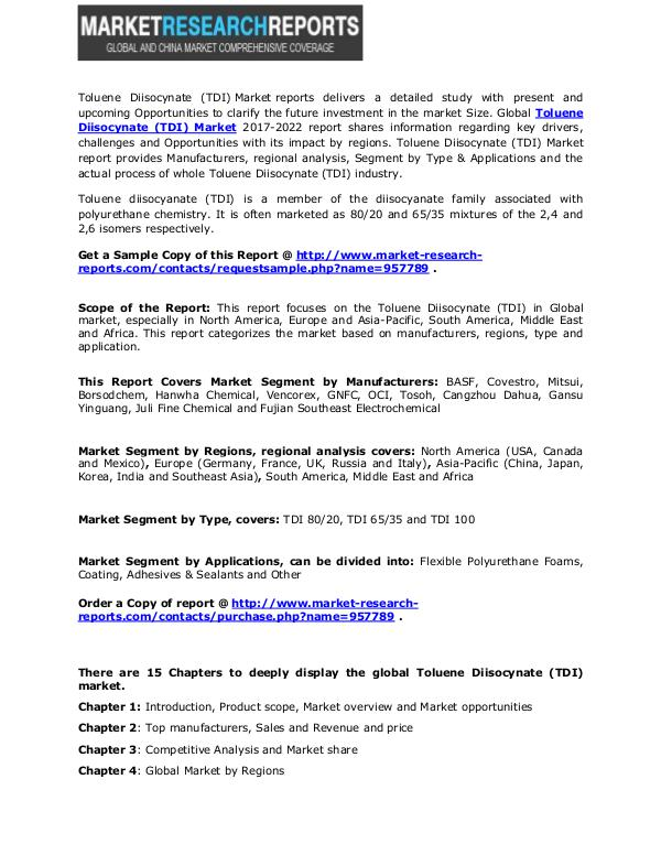 Toluene Diisocynate (TDI) Market Size 2017 Status and Outlook 12 Sep 17