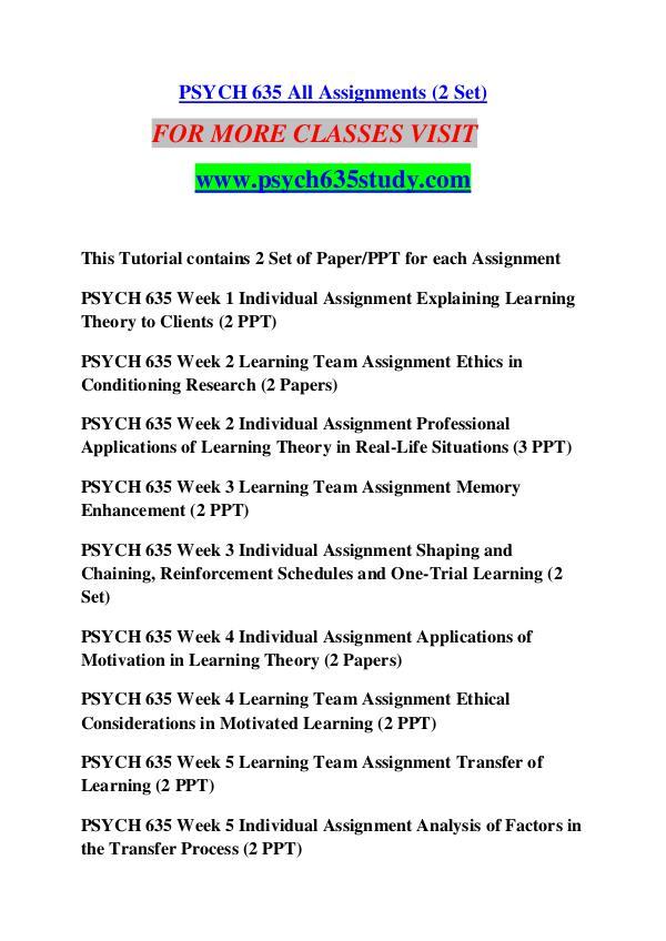 PSYCH 635 STUDY Keep Learning /psych635study com PSYCH 635