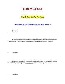 CIS 333 Week 3 Quiz 6