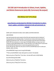 CIS 336 iLab 4 Introduction to Select, Insert, Update, and Delete Sta