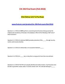 CIS 336 Final Exam (Feb 2016)