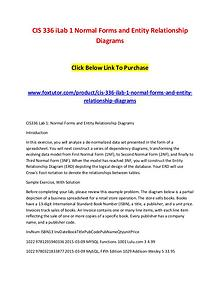 CIS 336 iLab 1 Normal Forms and Entity Relationship Diagrams