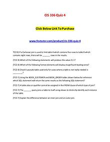 CIS 336 Quiz 4