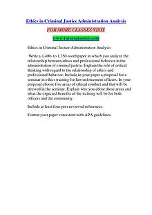 ETHICS IN CRIMINAL JUSTICE ADMINISTRATION ANALYSIS / TUTORIALOUTLET D