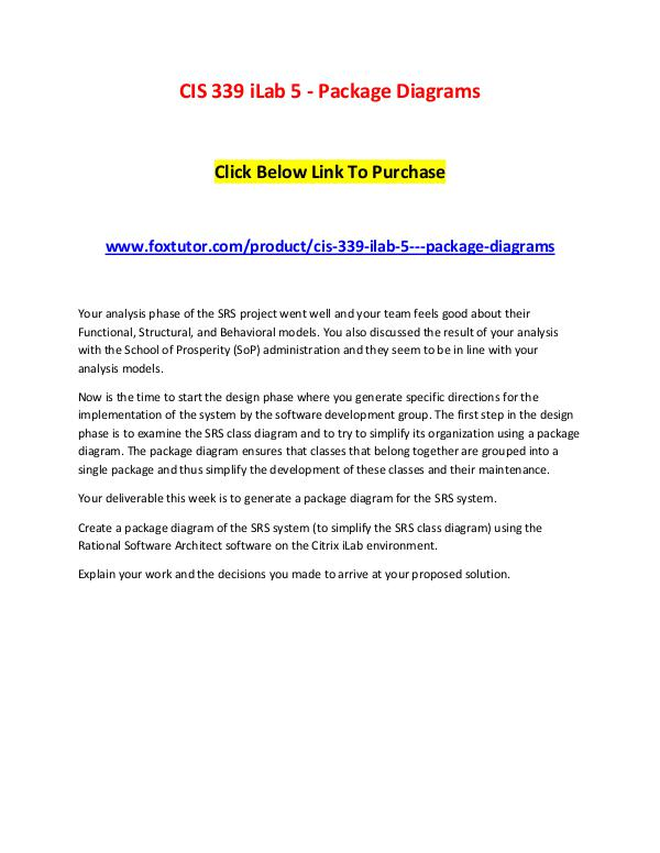 CIS 339 iLab 5 - Package Diagrams CIS 339 iLab 5 - Package Diagrams