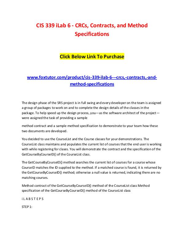 CIS 339 iLab 6 - CRCs, Contracts, and Method Specifications CIS 339 iLab 6 - CRCs, Contracts, and Method Speci