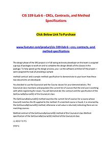 CIS 339 iLab 6 - CRCs, Contracts, and Method Specifications