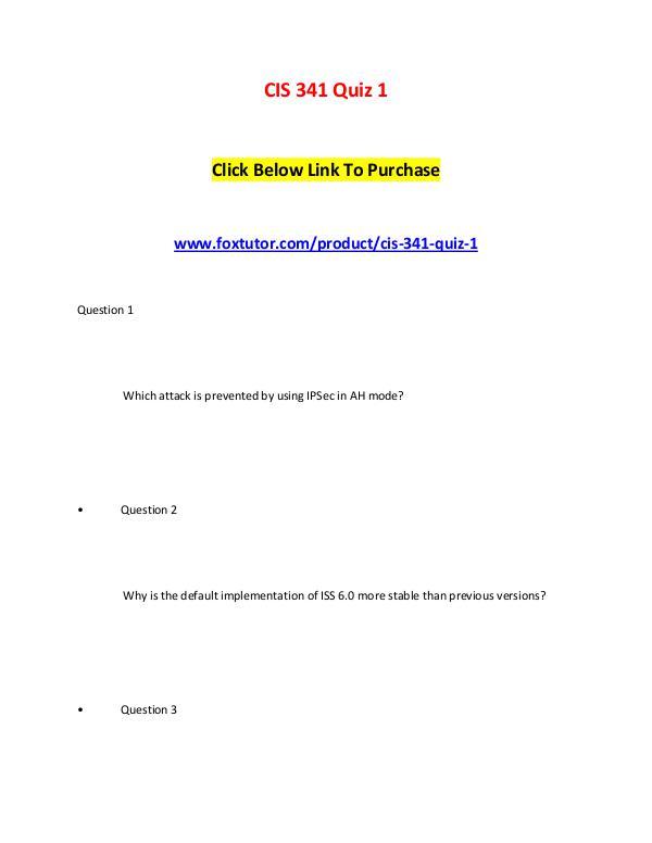 CIS 341 Quiz 1 CIS 341 Quiz 1