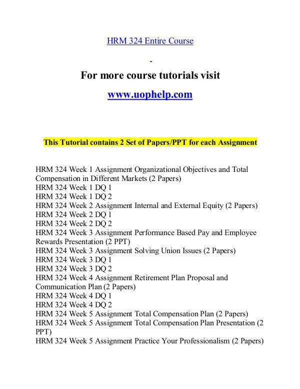 HRM 324 help Minds Online/uophelp.com HRM 324 help Minds Online/uophelp.com