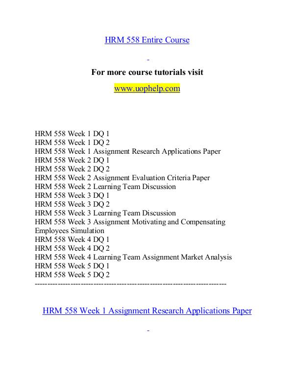HRM 558 help Minds Online/uophelp.com HRM 558 help Minds Online/uophelp.com