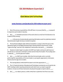 CIS 359 Midterm Exam Set 2