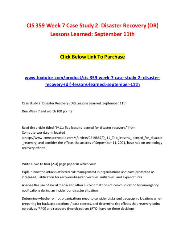 CIS 359 Week 7 Case Study 2 Disaster Recovery (DR) Lessons Learned Se CIS 359 Week 7 Case Study 2 Disaster Recovery (DR)