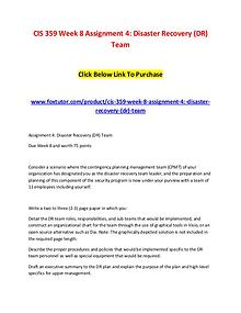 CIS 359 Week 8 Assignment 4 Disaster Recovery (DR) Team