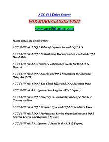 ACC 564 TUTOR Extraordinary Success/acc564tutor.com