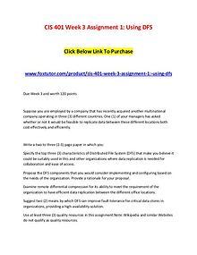 CIS 401 Week 3 Assignment 1 Using DFS