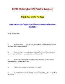 CIS 407 Midterm Exam (All Possible Questions) (2)