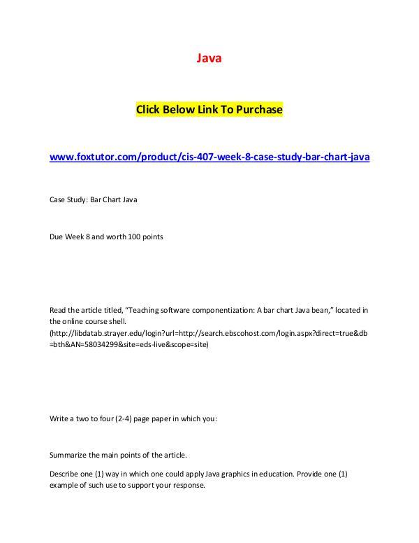 CIS 407 Week 8 Case Study Bar Chart Ja CIS 407 Week 8 Case Study Bar Chart Ja