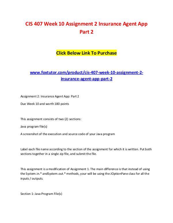 CIS 407 Week 10 Assignment 2 Insurance Agent App Part 2 CIS 407 Week 10 Assignment 2 Insurance Agent App P