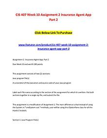 CIS 407 Week 10 Assignment 2 Insurance Agent App Part 2