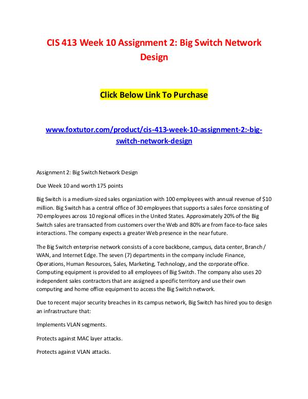 CIS 413 Week 10 Assignment 2 Big Switch Network Design CIS 413 Week 10 Assignment 2 Big Switch Network De