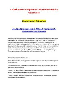 CIS 438 Week 9 Assignment 4 Information Security Governance