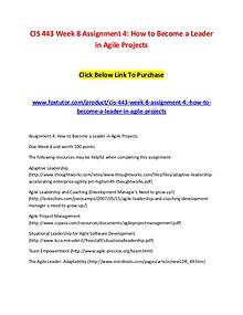 CIS 443 Week 8 Assignment 4 How to Become a Leader in Agile Projects