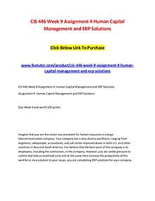 CIS 446 Week 9 Assignment 4 Human Capital Management and ERP Solution