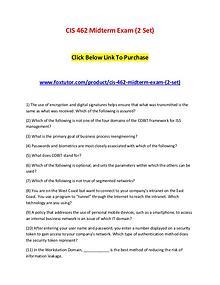 CIS 462 Midterm Exam (2 Set)