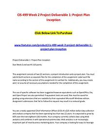 CIS 499 Week 2 Project Deliverable 1 Project Plan Inception Click Bel