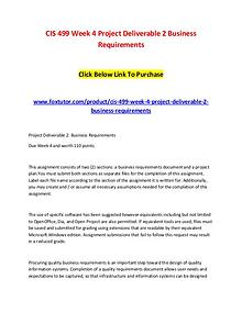 CIS 499 Week 4 Project Deliverable 2 Business Requirements