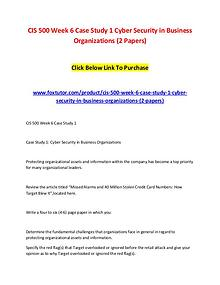CIS 500 Week 6 Case Study 1 Cyber Security in Business Organizations