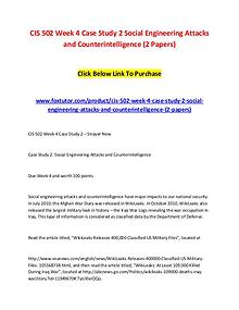 CIS 502 Week 4 Case Study 2 Social Engineering Attacks and Counterint