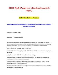 CIS 505 Week 2 Assignment 1 Standards Research (2 Papers)