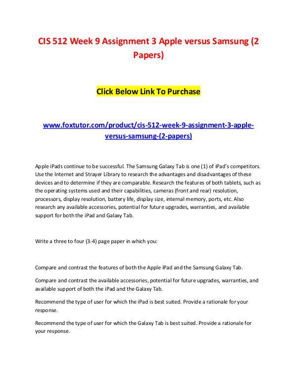CIS 512 Week 9 Assignment 3 Apple versus Samsung (2 Papers