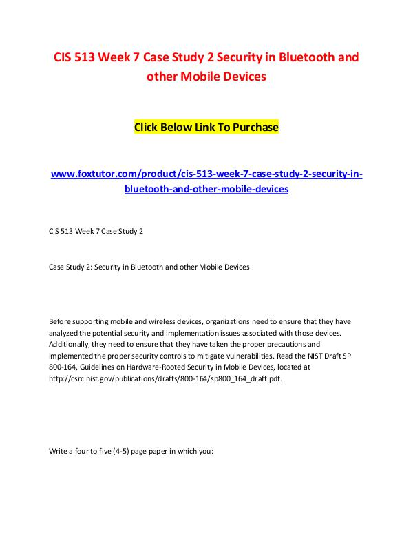 CIS 513 Week 7 Case Study 2 Security in Bluetooth and other Mobile De CIS 513 Week 7 Case Study 2 Security in Bluetooth