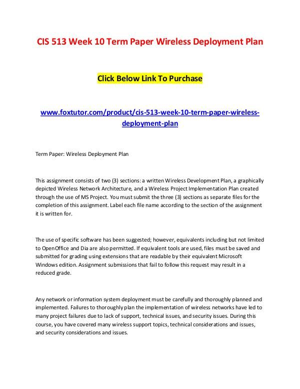 CIS 513 Week 10 Term Paper Wireless Deployment Plan CIS 513 Week 10 Term Paper Wireless Deployment Pla